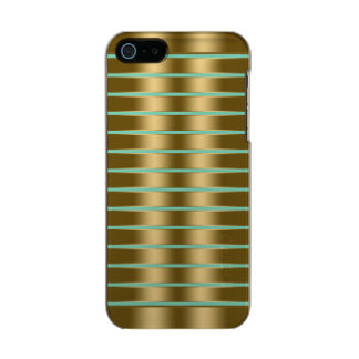 Faux Gold Stripes Custom Teal-Green Background Incipio Feather® Shine iPhone 5 Case