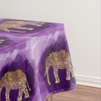 faux gold tribal elephant purple brushstroke tablecloth