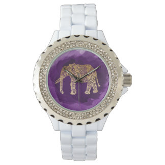 faux gold tribal elephant purple brushstroke watch