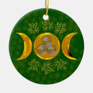 Faux Gold Triple Moon & Silver Triple Spiral-Holly Round Ceramic Decoration