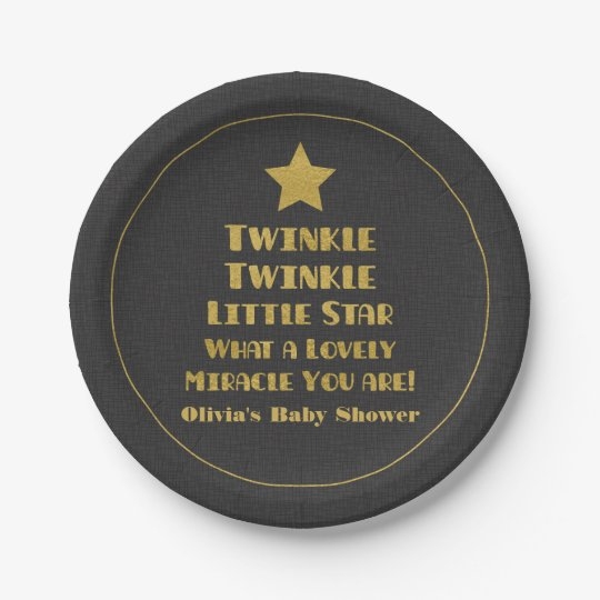 Faux Gold Twinkle Little Star Baby Shower Supplies