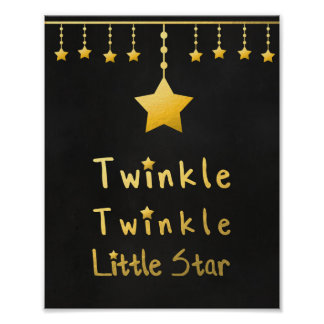 Faux gold Twinkle Twinkle Little star gray stars Poster