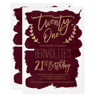 Faux gold typography burgundy watercolor 21st card