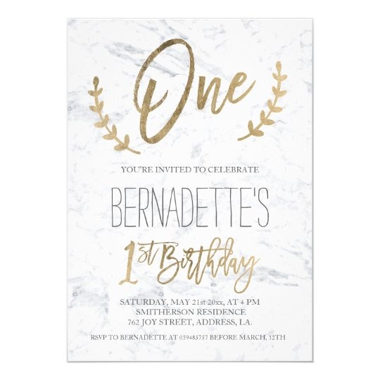Faux gold typography leaf marble first Birthday Card