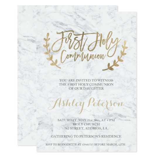 Faux gold typography marble First Holy Communion Card