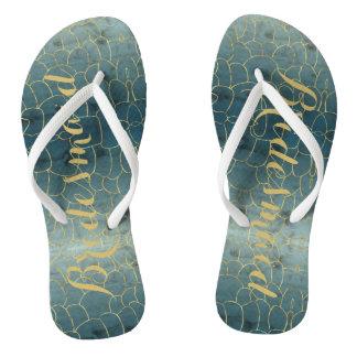 Faux Gold Under-the-Sea Bridesmaid Flip Flops