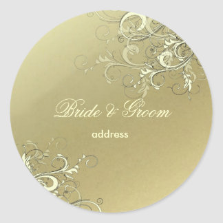faux gold vanilla swirls wedding stickers