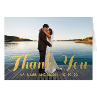 FAUX GOLD WEDDING THANK YOU WITH PHOTO NOTECARD NOTE CARD