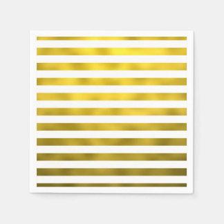 Faux Gold White Horizontal Stripes Striped Ribbon Paper Serviettes