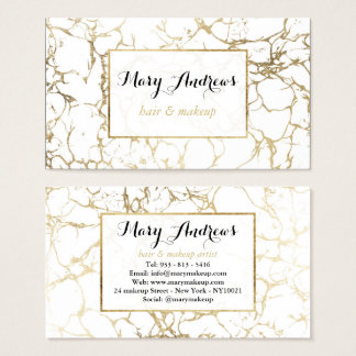 Faux gold white modern marble hair makeup business card