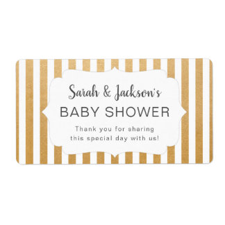 Faux Gold White stripes baby shower thank you