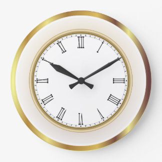 Faux Gold White Trim Roman Numbers Large Clock
