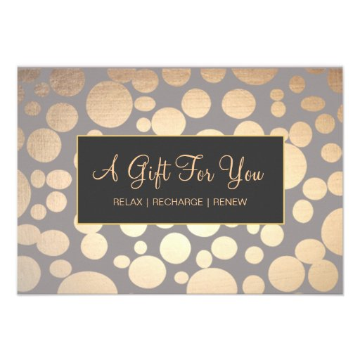 Faux Goldand Taupe Spa and Salon Gift Certificate Personalized Invitation
