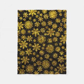 Faux Golden Glitter - Floral Fleece Blanket