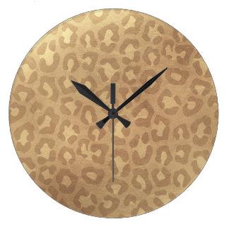 Faux Golden Leopard Large Clock