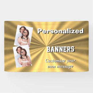 Faux golden metallic gold minimal banner