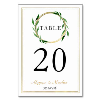Faux Golden Wreath Wedding Table Number Card Table Card