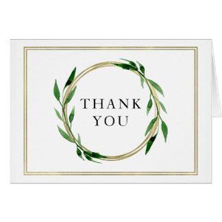 Faux Golden Wreath Wedding Thank You Card