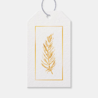 Faux Golden Yellow Color Feather Drawing Gift Tags