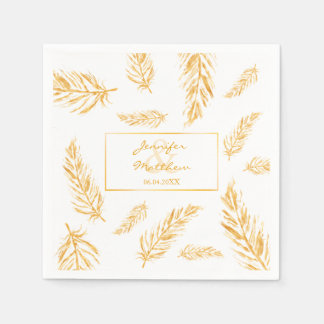 Faux Golden Yellow Feathers & Wedding Couple Names Disposable Serviettes