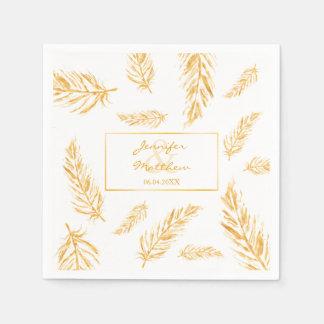 Faux Golden Yellow Feathers & Wedding Couple Names Paper Napkin