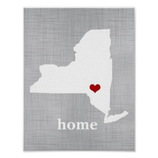 Faux Gray Linen Personalized New York Home Print