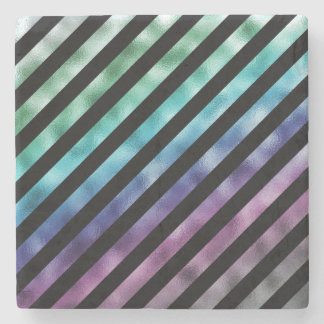 Faux Green Blue Purple Rainbow Black Diagonal Stone Coaster