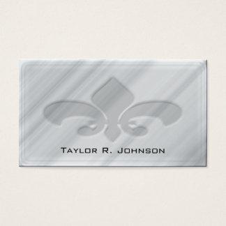 Faux Grey Marble Fleur de Lis Business Card