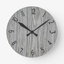 Faux Grey Wood Panelling Round Clock