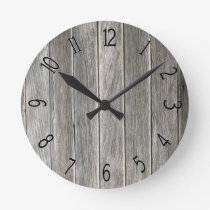 Faux Grey Wooden Board Round Clock
