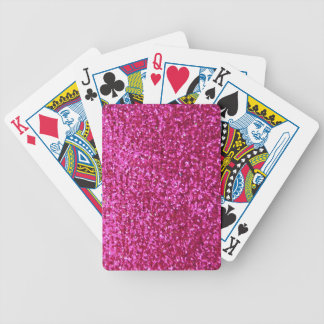Faux Hot Pink Glitter Bicycle Playing Cards