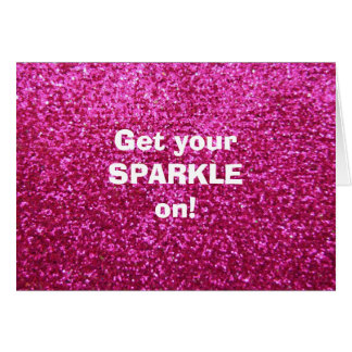 Faux Hot Pink Glitter Card