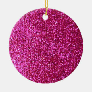 Faux Hot Pink Glitter Christmas Ornament