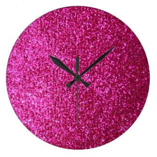 Faux Hot Pink Glitter Round Clocks