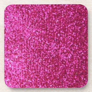 Faux Hot Pink Glitter Coaster