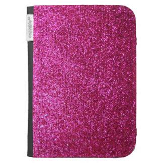 Faux Hot Pink Glitter Kindle Folio Case