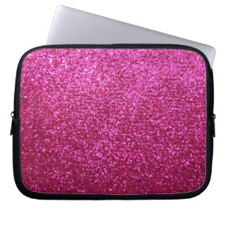 Faux Hot Pink Glitter Laptop Sleeve