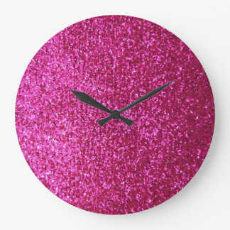 Faux Hot Pink Glitter Large Clock