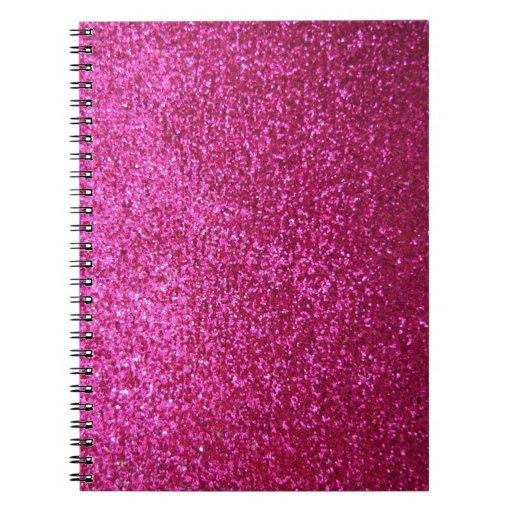 Faux Hot Pink Glitter Spiral Note Book