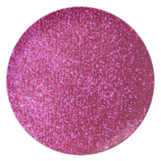 Faux Hot Pink Glitter Party Plates
