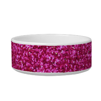 Faux Hot Pink Glitter Cat Bowls
