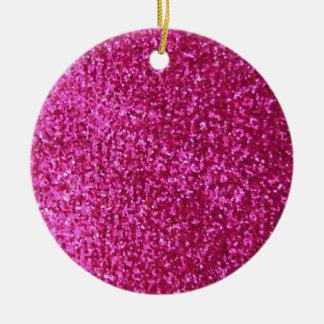 Faux Hot Pink Glitter Round Ceramic Decoration