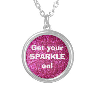 Faux Hot Pink Glitter Round Pendant Necklace