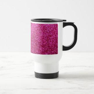 Faux Hot Pink Glitter Travel Mug