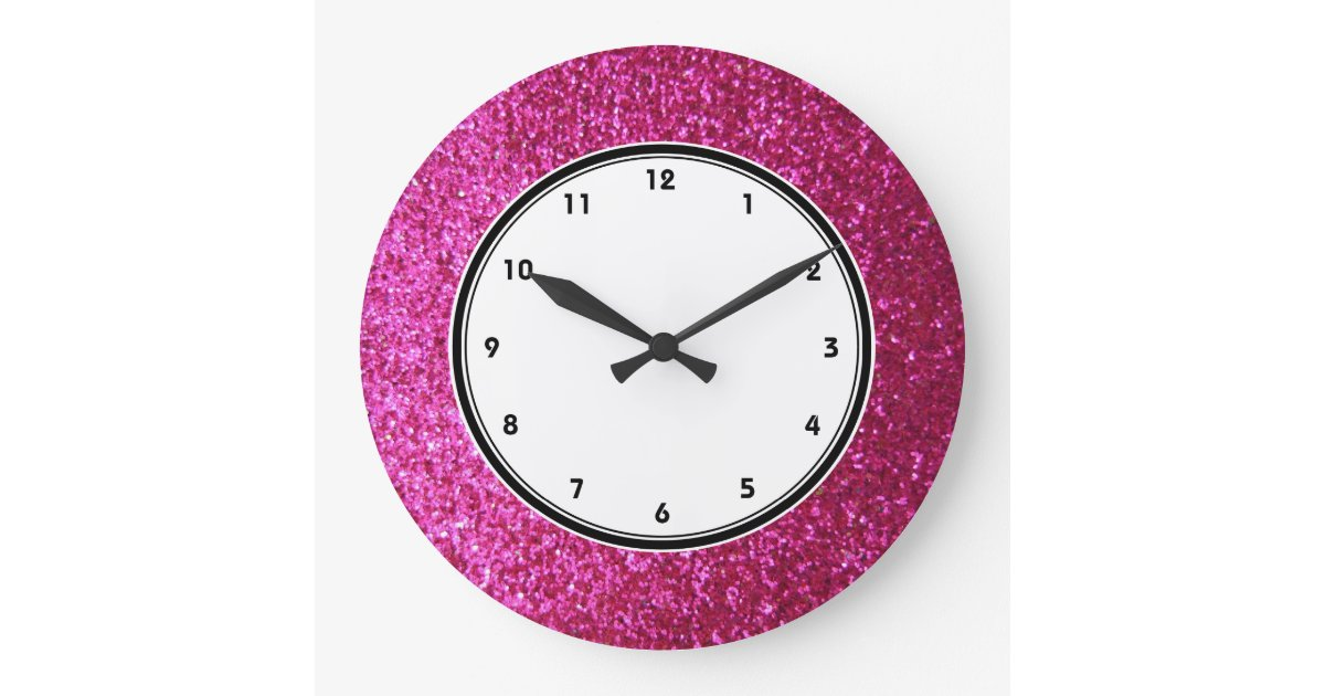 Faux Hot Pink Glitter Wall Clock Zazzle Co Uk