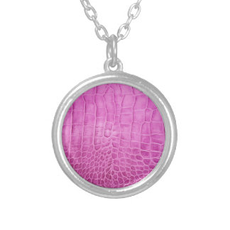 Faux Hot Pink Leather Silver Plated Necklace