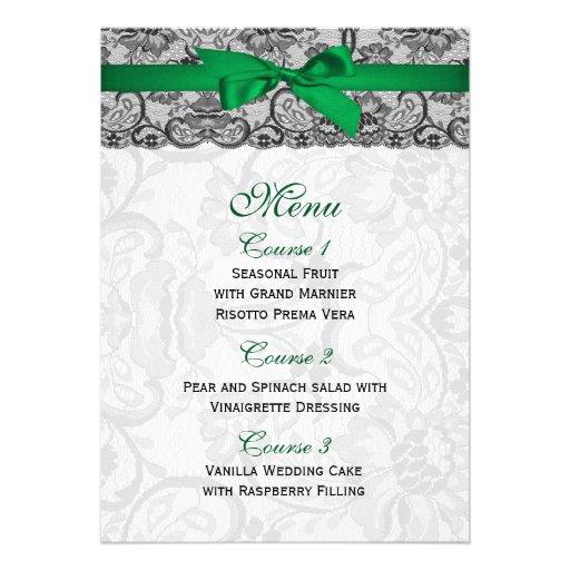 Faux lace and ribbon emerald green wedding Menu Custom Invitation
