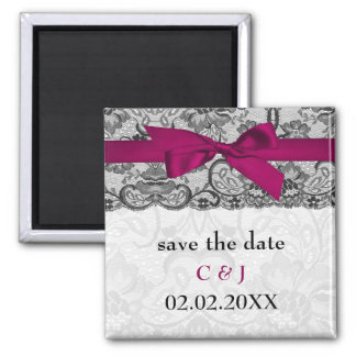 Faux lace and ribbon pink, black  save the date fridge magnets