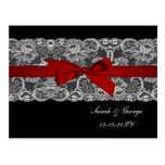 Faux lace and ribbon red, black  save the date postcard