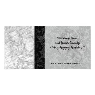 faux lace black gray damask pattern photo card